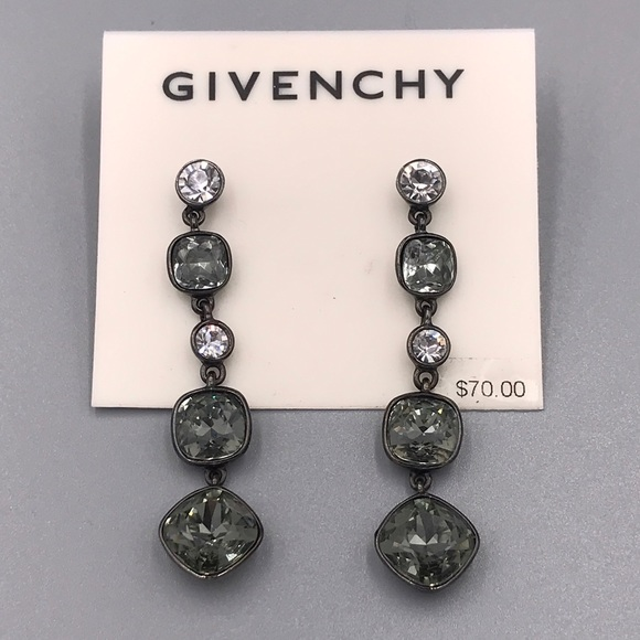 5dd04d9cf Givenchy Jewelry | Gunmetal Earrings W Clear Gray Crystal | Poshmark